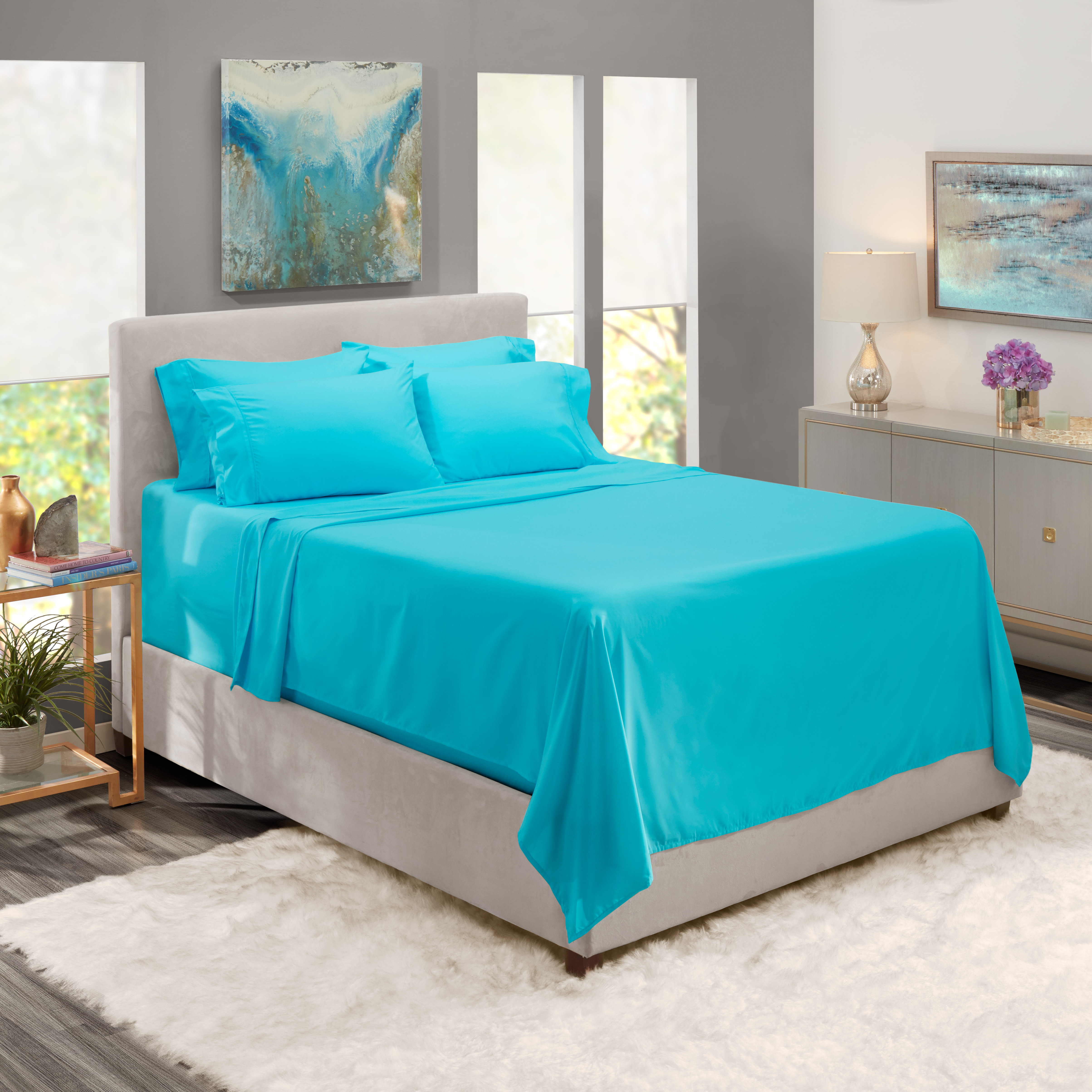 Extra Deep Pocket 6 Piece Bed Sheet Set Available In King Queen Full Twin And Cal King Deep Fitted Sheet Fits 18a 24a Soft Microfiber Hypoallergenic 4 Pillow Cases By Queen