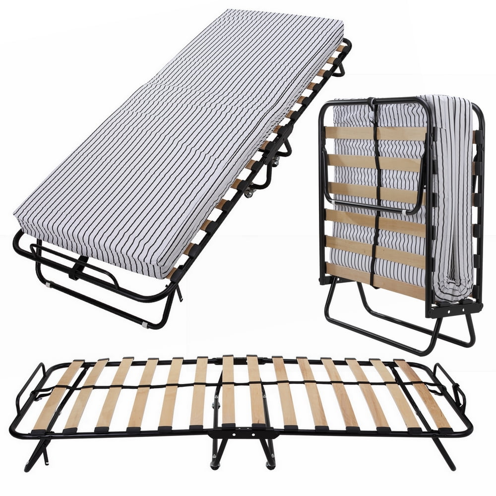 Homegear Rollaway Heavy Duty Steel Frame Wooden Slat ...