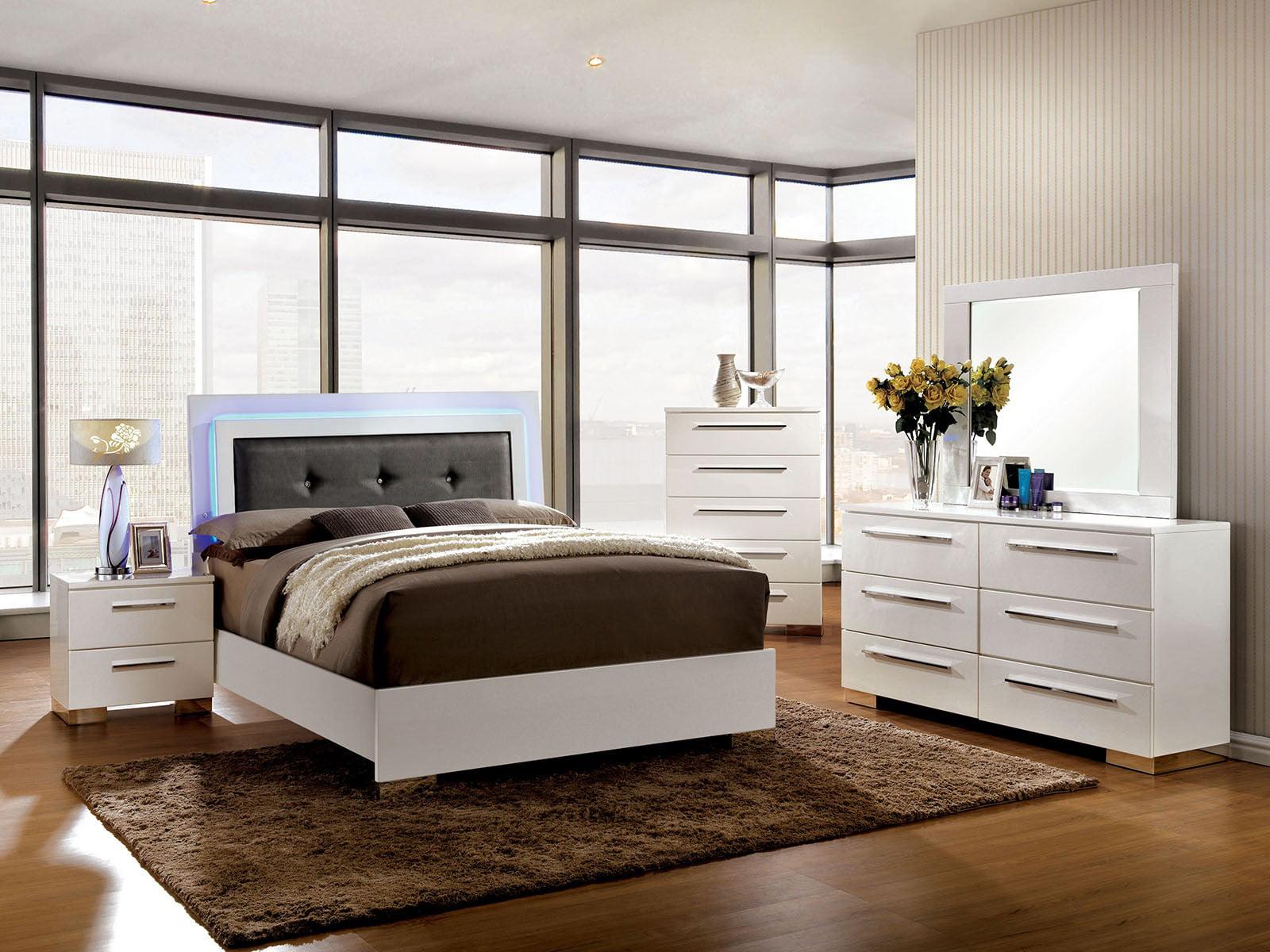 Contemporary Platform Bed W Led Lights Full Size Bed Dresser Mirror Nightstand 4pc Set Gray Leatherette White Bedroom Furniture Walmart Com Walmart Com,Modern Bathroom Wall Art Ideas