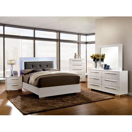 Contemporary platform bed w led lights eastern king size - King size bedroom set with mirror headboard ...