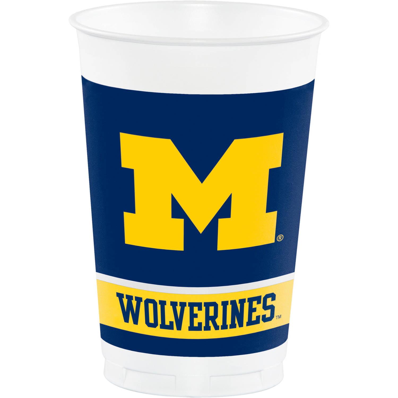 University of Michigan Plastic Cups, 8 count