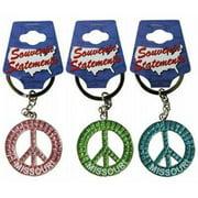 1266606 Missouri Keychain- Glitter Peace Symbol Case of 60