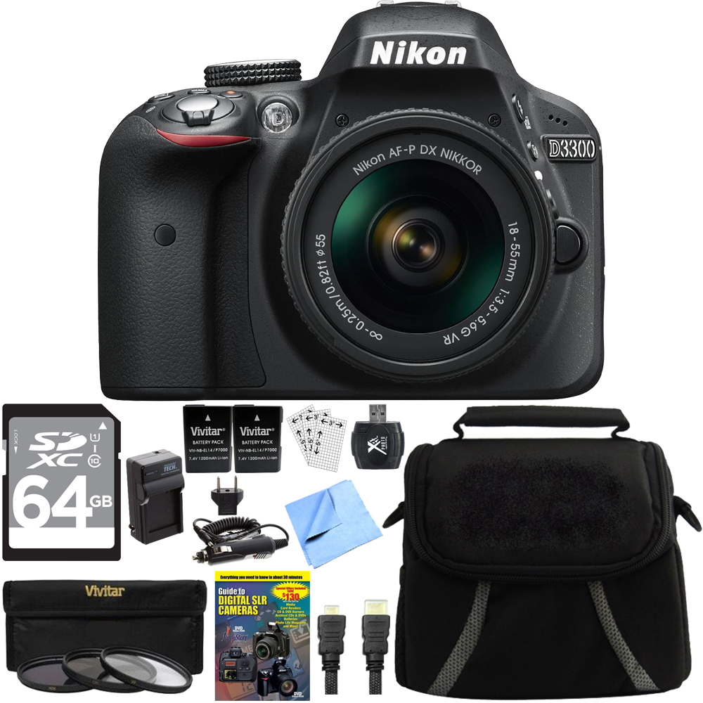 Nikon D3300 DSLR 24.2 MP HD Camera w/ 18-55mm Lens Bundle includes Camera, Lens, 64GB SDXC Memory Card, Compact Gadget Bag, 55mm Filter Kit, 2 Camera Batteries + Charger, Beach Camera Cloth and More