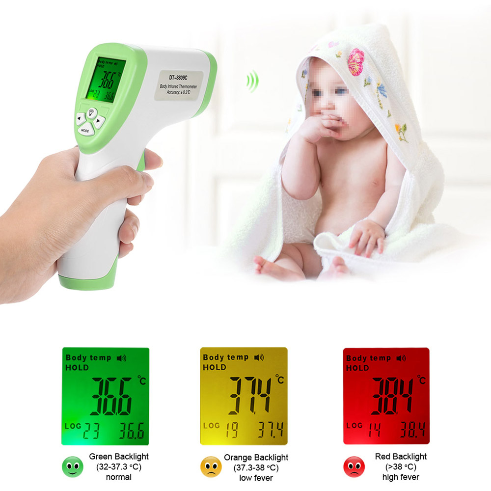 Anself Digital LCD No Touch IR Infrared+ Forehead  Body Thermometer Baby Adult Thermometer, DT8809C