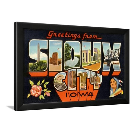 Greetings from Sioux City, Iowa Framed Print Wall - Party City Iowa City