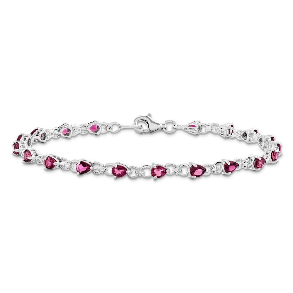 Sterling Silver Pink Tourmaline and Diamond Bracelet .02 dwt 2.59 cwt by