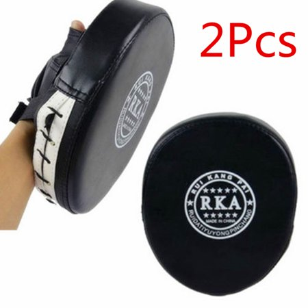 1 Pair Leather Boxing Gloves Target Focus Punch Pad Boxing Training Mitt Glove for Muay Thai Kick MMA Combat Karate