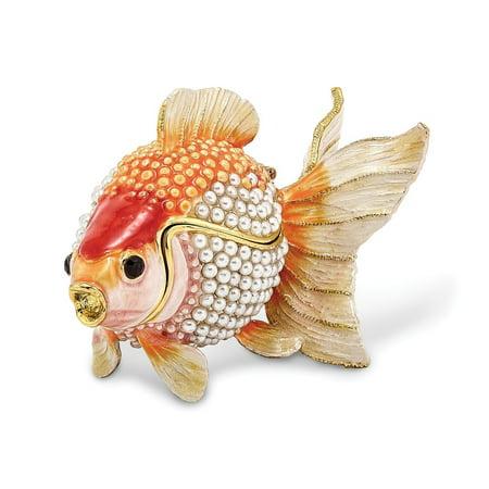 Bejeweled Trinket Box - Bejeweled Pewter Pearls Goldfish Trinket Box