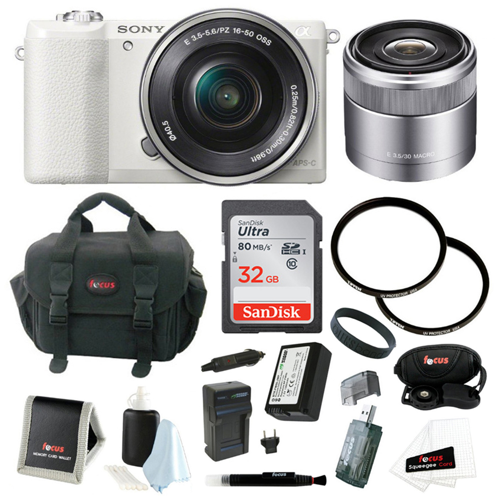 Sony a5100 Camera (White) with 16-50mm/30mm Lenses and 32GB Accessory Bundle