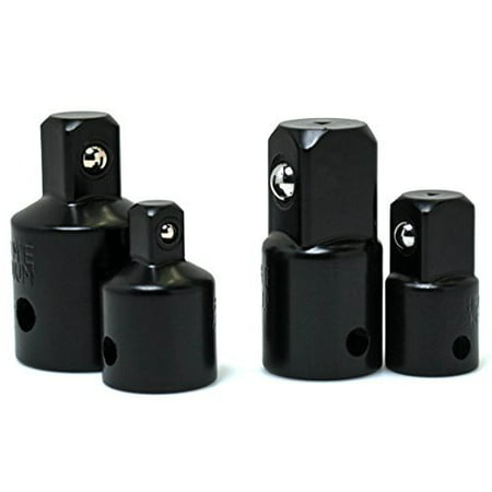Bastex Impact Adapter and Reducer Set (4-Piece) for use with Impact Wrenches and Drills in Auto and Construction Work Set Adapter Sizes (3/8in. to 1/4) (1/2in. to 3/8) (3/8in. to 1/2) (1/4in. to 3/8)