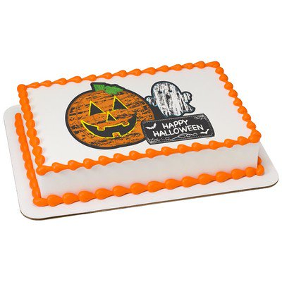 Halloween Cakes Order Online (Halloween Edible Icing Image for 1/4 sheet)