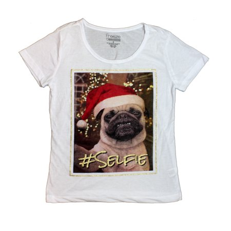 Freeze Pug Dog #Selfie Holiday Christmas Juniors White T-Shirt Tee M