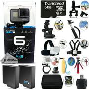 GoPro Hero 6 Black 4K Ultra HD Camera + Extra Battery & Much More! - 64GB Kit