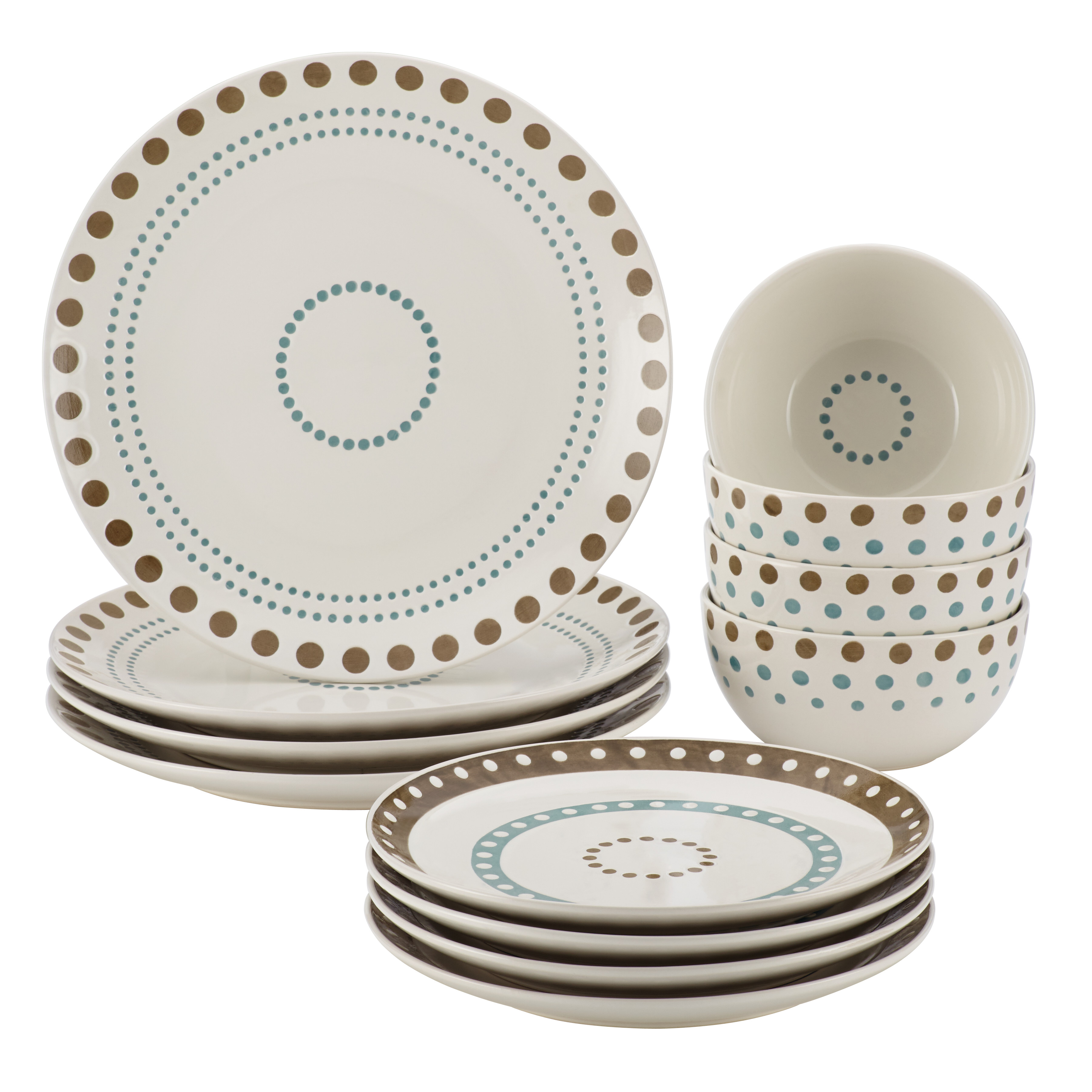 Rachael Ray Cucina Circles and Dots 12-Piece Stoneware Dinnerware Set