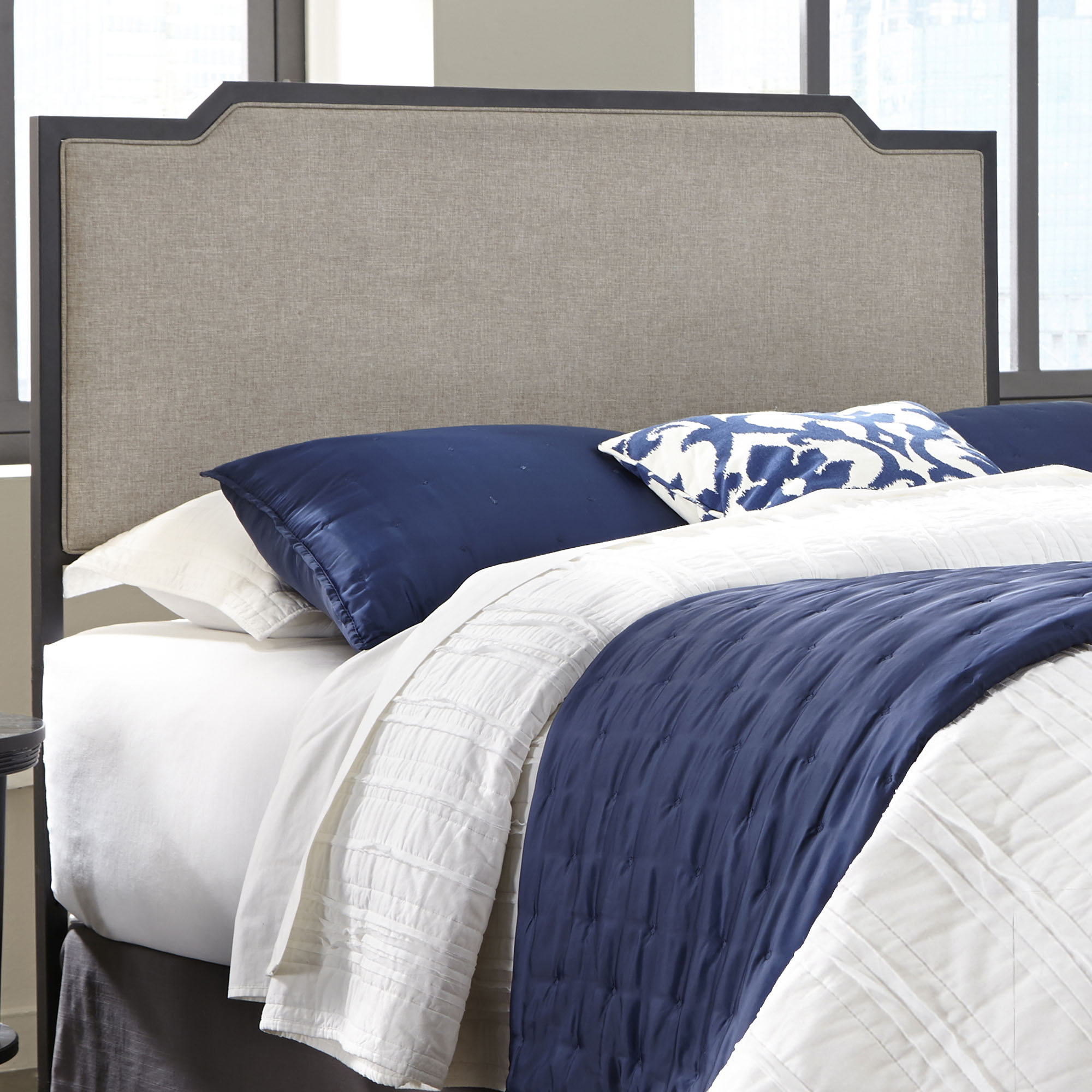 Bayview Metal Headboard Panel with Gray Sand Upholstery, Black Pearl Finish, Twin