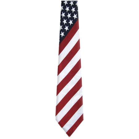 BuyYourTies - Mens Novelty USA Flag Necktie - Red White Blue