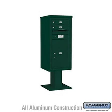 Salsbury 3410SX-02GRN 52.625 in. 10 Door High Unit Single Column 2 MB1 Doors & 1 PL6 Pedestal Mounted 4C Horizontal Mailbox ADA Height Compliant Unit,