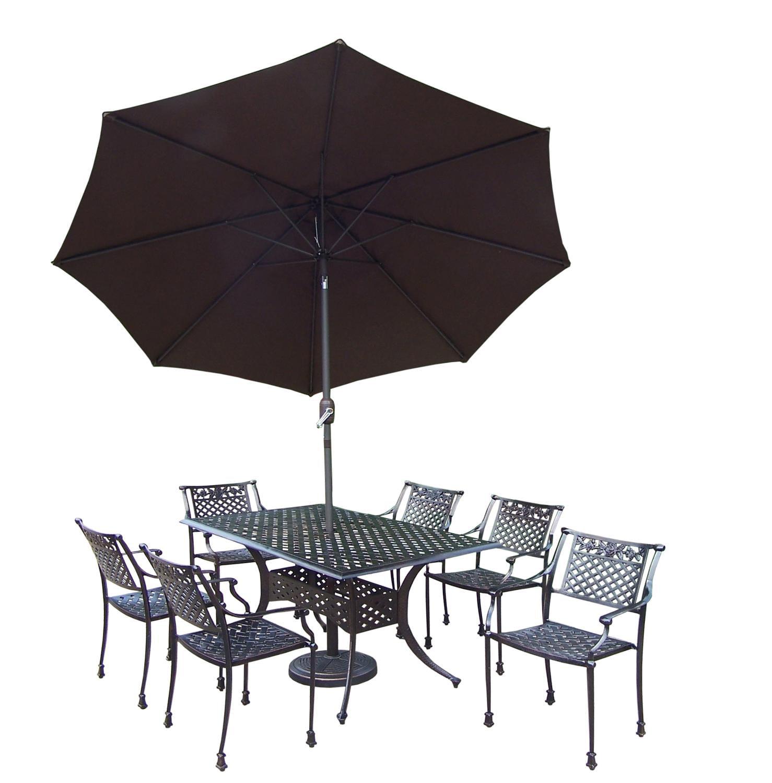 9 Pc. Antiqued Bronze Rectangular Ornate Rose Outdoor Patio Dining Set with Brown Umbrella