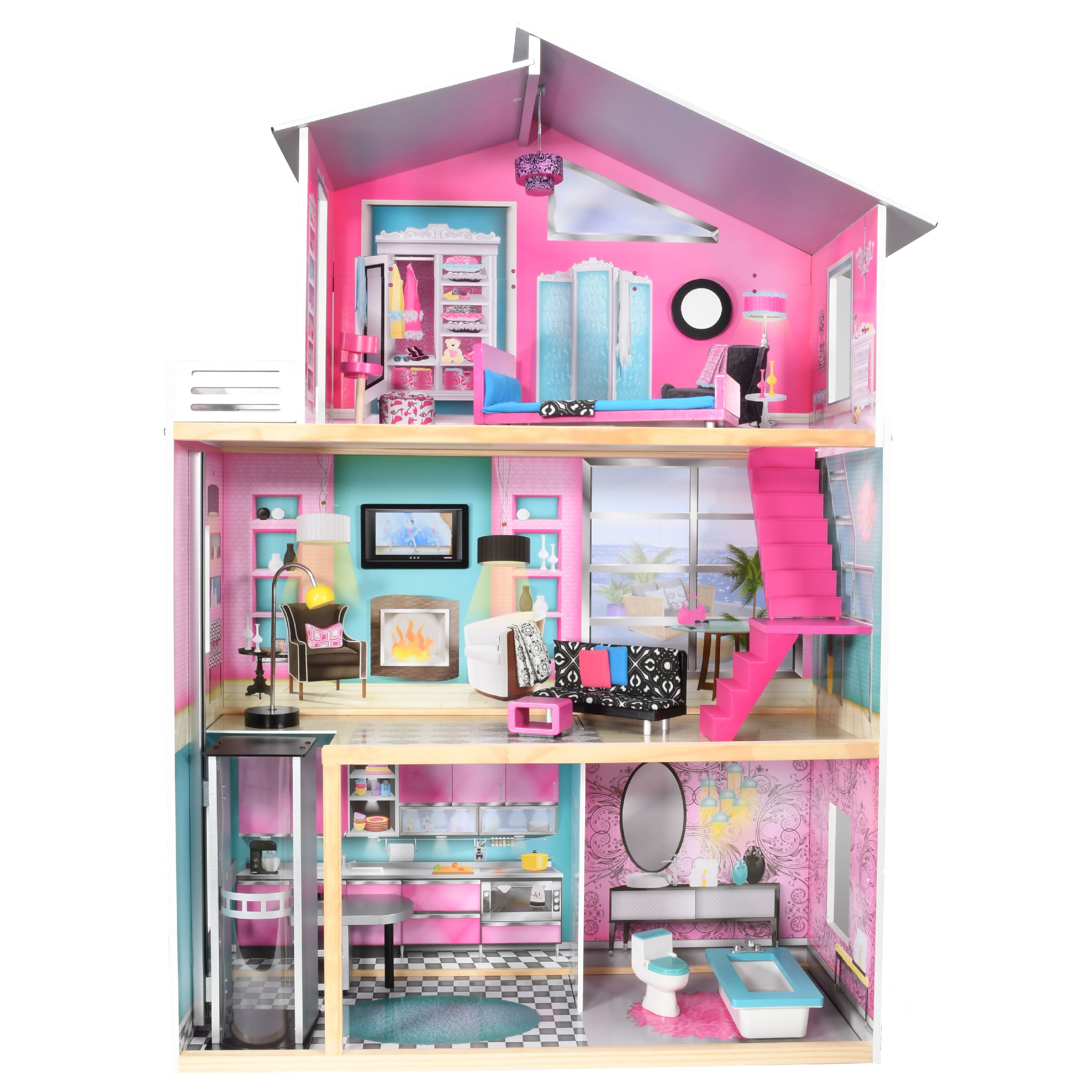 Charming Imaginarium Modern Luxury Dollhouse With 11 Pieces Of Furniture