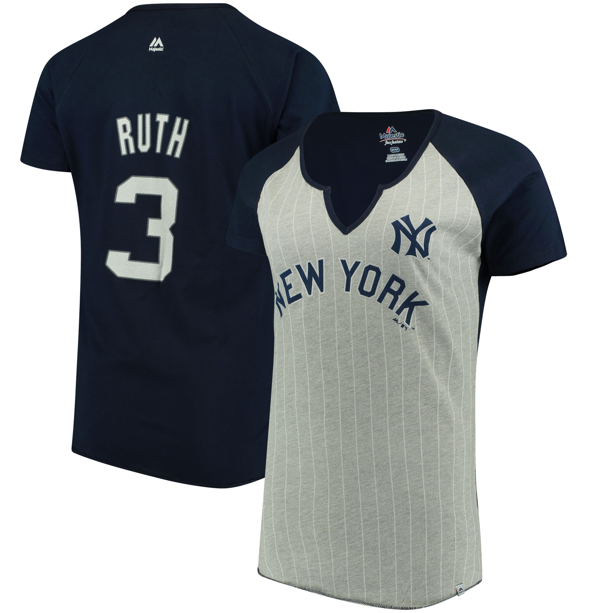 Women's Majestic Babe Ruth Gray New York Yankees Cooperstown Collection From the Stretch Name & Number T-Shirt