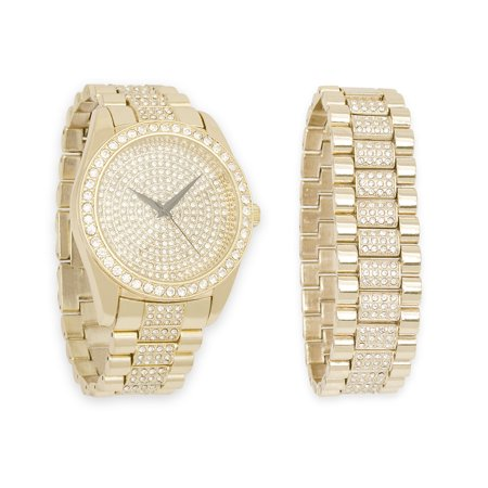 Mens Gold Bling-ed Out Watch with Simulated Diamonds and Iced Out Bracelet Combo Set