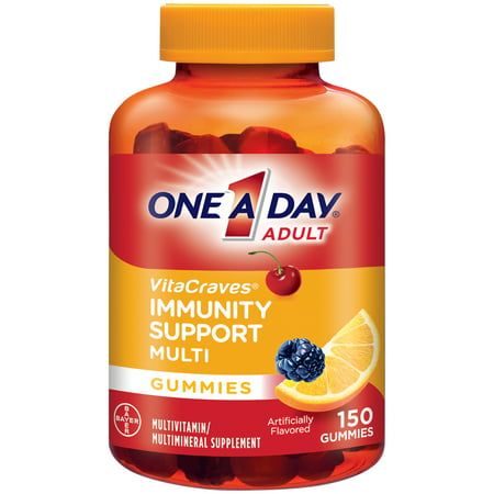 One A Day VitaCraves Immunity Support Multi Gummies*, Supplement with Vitamins A, C, D, E, B6, B12, Selenium, and Zinc, 150 Count - White Gummy