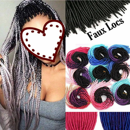 Black Hair Braiding (S-noilite Straight Faux Locs Crochet Hair Dreadlocks Crochet Braids Straight Goddess Locs Twist Braiding Hair Extensions-Dark Black to Light)