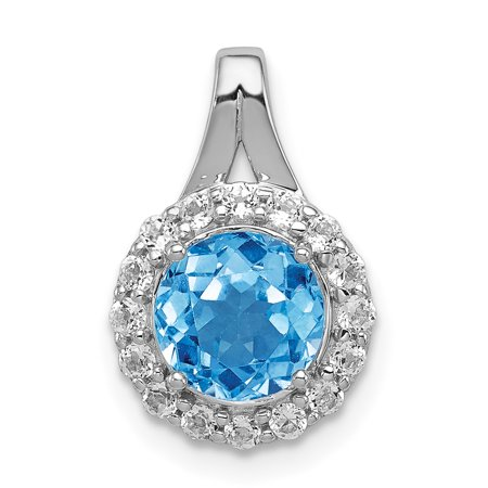 925 Sterling Silver Rhodium White Topaz and Lght Swiss Blue Topaz Circle Shaped Pendant - image 2 de 2