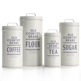 Set of 3 Country Enamelware Kitchen Canisters -