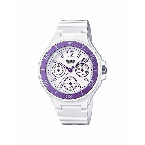 Casio Women's Sport Classic Pink Multi-Dial Watch, White Resin Strap