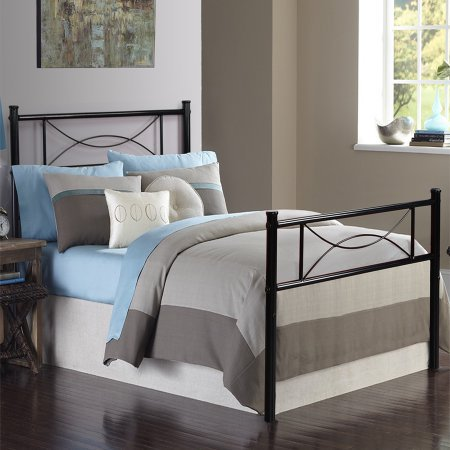 Easy Assembly 12.7inch High Metal Platform Bed Frame with Two Bowknot Headboards Size Twin