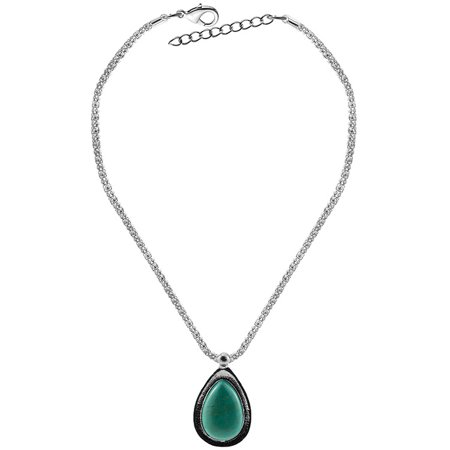 Women Girls Xmas Gift Retro Jewelry Elegant Water Drip Turquoise Pendant Necklace with Water Wave Chain