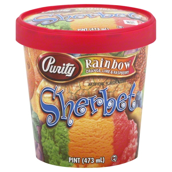 Purity Rainbow Sherbet, 16 oz