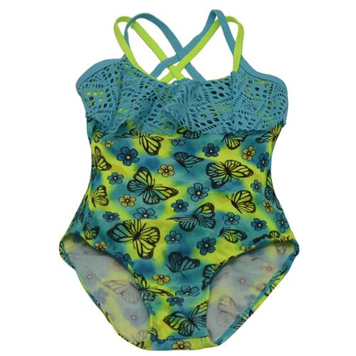 2B Real Little Girls Turquoise Butterfly Flower Print One Piece Swimsuit 4-6X
