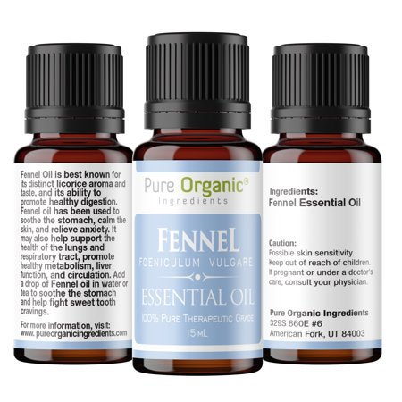 No Hydrogenated Oils (Fennel Pure Essential Oil 15 mL by Pure Organic Ingredients, All Natural, No Fillers, Non-Toxic, Promotes Healthy Digestion, Metabolism, Liver Function, & Circulation, Convenient Dropper Cap Bottle )