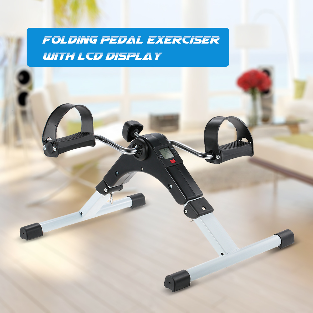 TOMSHOO Folding Pedal Exerciser Fitness Mini Bike Cycle with Electronic LCD Display