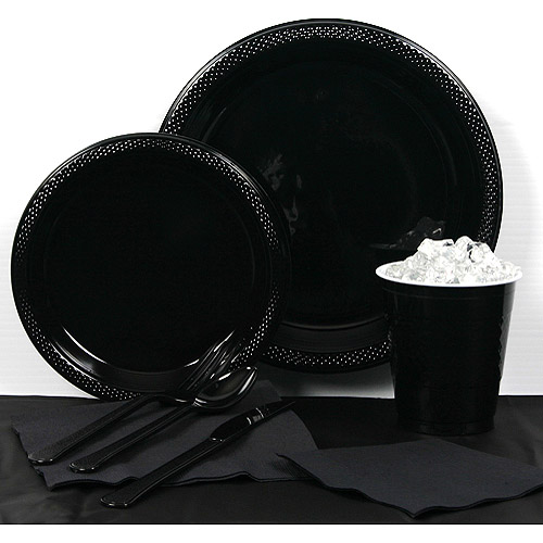 Black Velvet Plastic Tableware Party Pack for 20