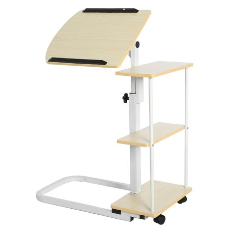 Freestanding Work Table (Walfront Computer Desk Computer Table Computer Cart Student Desk Adjustable Desk Standing desk Mobile PC Laptop Station Mobile Work Station Mobile Computer Tower with Shelf)