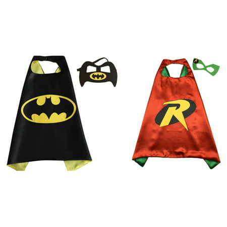 Batman & Robin Costumes - 2 Capes, 2 Masks with Gift Box by Superheroes - Robin Costume Mask