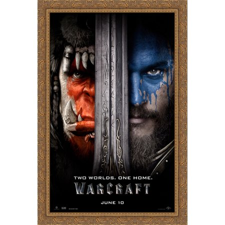 Warcraft 26X40 Large Gold Ornate Wood Framed Canvas Movie Poster Art