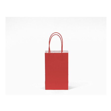 Red Gift Bags (60 Pack Small Red Kraft Bag, Gift bag, Biodegradable, FOOD SAFE INK & PAPER(STURDY & THICKER), Gift)