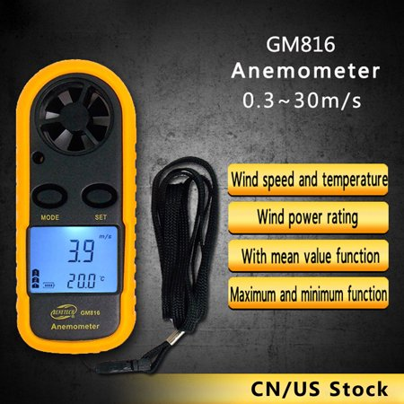 Digital LCD GM816 Air Wind Mini Wind Speed Gauge Anemometer Meter Handheld Thermometer Electronic Lcd anemometer Measurement Smart Sensor