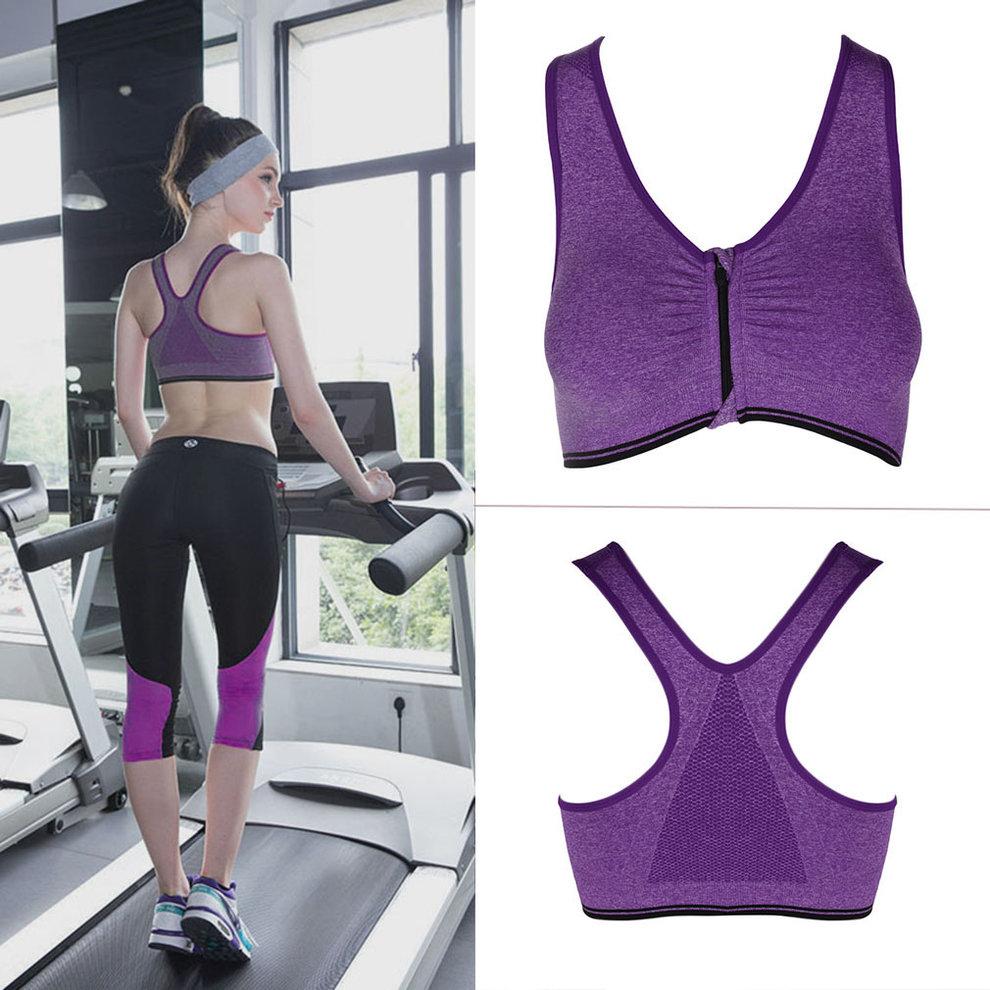 Women Sport Bra Running Gym Yoga Fitness Tops Tank Workout Zipper Stretch