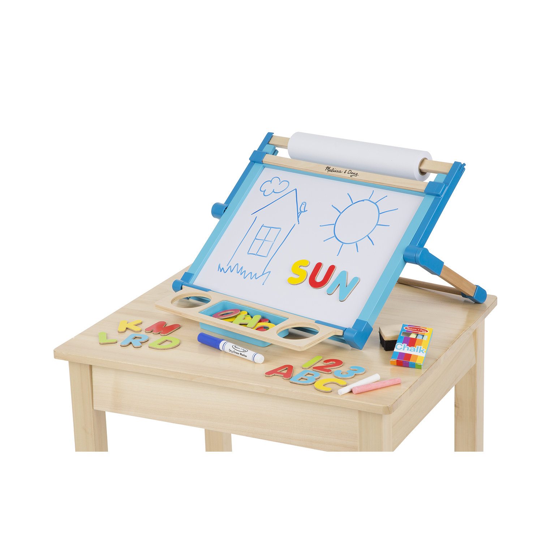 melissa u0026 doug doublesided magnetic tabletop art easel dryerase board and chalkboard walmartcom - Tabletop Easel