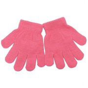 Girls Fuchsia Knitted Ribbed Cuff Winter Gloves