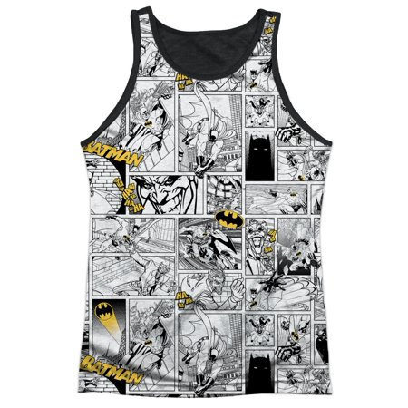 Batman Cartoon TV Series Movie Joker Strips Adult Black Back Tank Top Shirt (Adult Movie Tv)