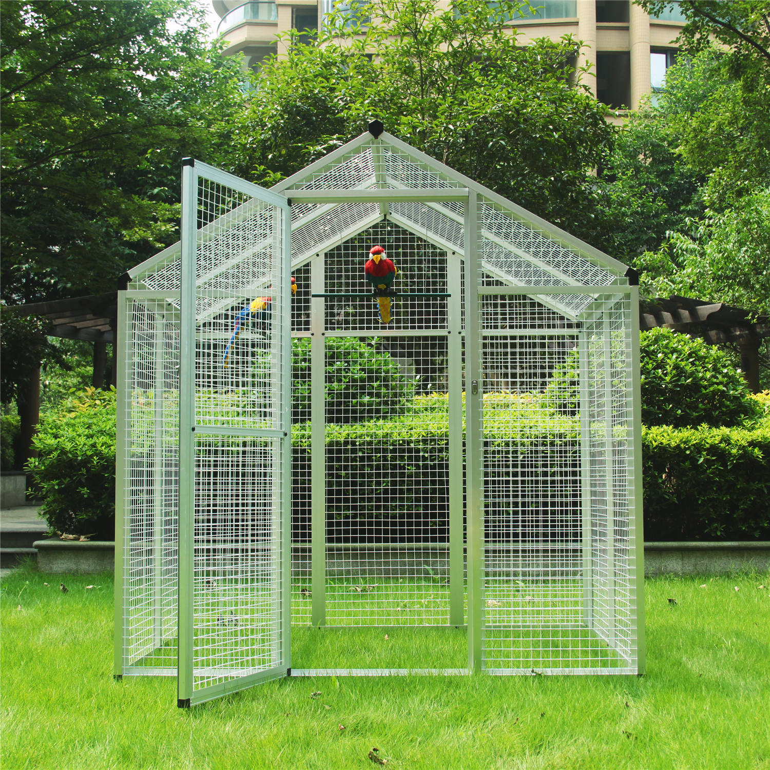 76''H Large Aluminum Bird Aviary Cage Walk In Aviary Parrot Play Top Parrot Finch Cage Macaw Cockatoo Pet Supplies White