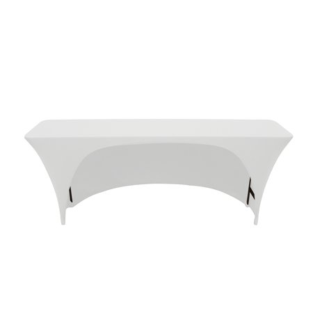 Your Chair Covers - Spandex 6 Ft x 18 Inches Open Back Rectangular Table Cover White for Wedding, Party, Birthday, Patio, etc. ()