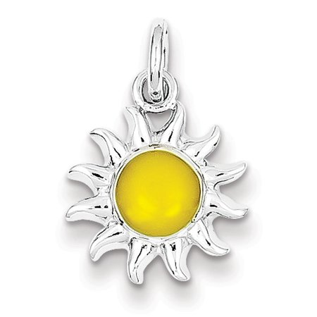 Sterling Silver Enameled 13mm Yellow Sun Charm