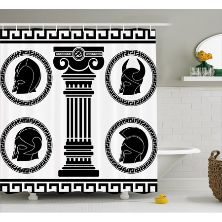 Toga Party Shower Curtain, Patterned Circular Frames with Antique Accessories Spartan Classic Costume, Fabric Bathroom Set with Hooks, Black and White, by Ambesonne (Spartan Costume Accessories)